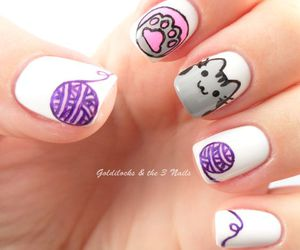 cat, nails, and pusheen image