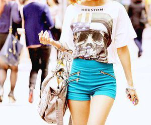 fashion, girl, and blue image