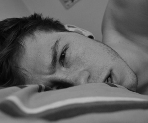 boy, black and white, and bed image