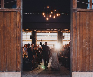 barn, bride, and groom image
