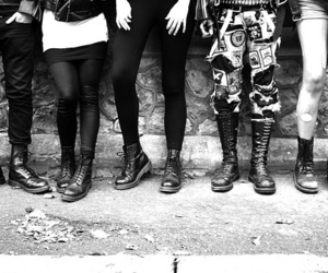 black and white, punk, and boots image