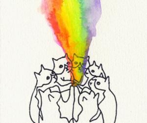 cat, rainbow, and art image