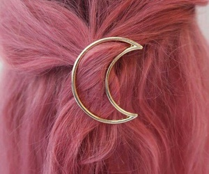 hair, pink, and moon image