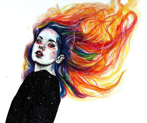 art, fire, and paint image