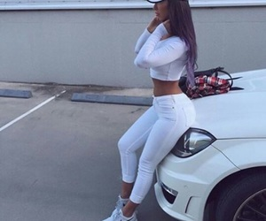 girl, white, and car image