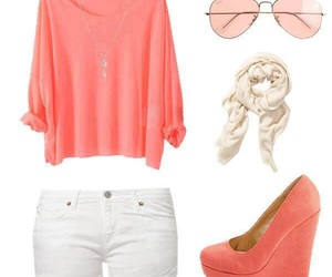sunglasses, pink pumps, and loose image