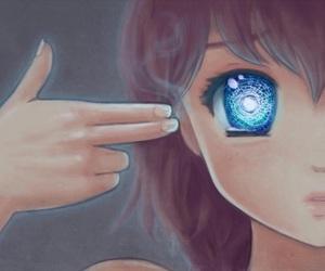 anime, eyes, and blue image