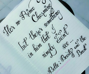 belle, calligraphy, and disney image