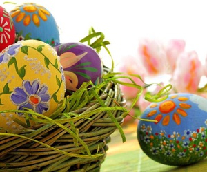 blue, yellow, and decorated easter eggs image