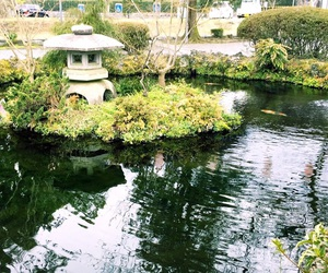 japan, shrine, and pond image
