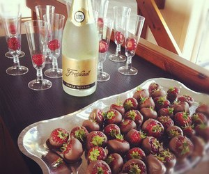strawberry, chocolate, and champagne image