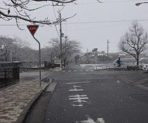 japan, snow, and street image
