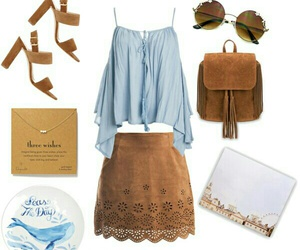 blue, brown, and outfit image