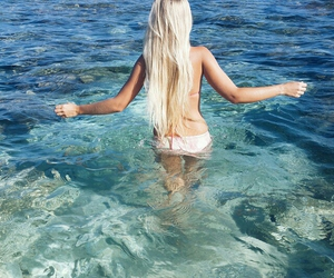 blonde, summer, and beach image