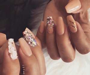 flowers, nail art, and sparkle image