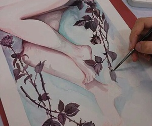 art, legs, and aquarelle image