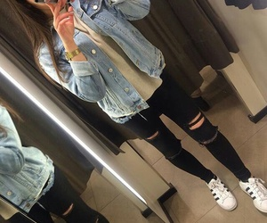 denim jacket, grunge, and hipster image