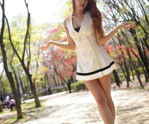 beautiful dress, racing model, and korean car show girl image