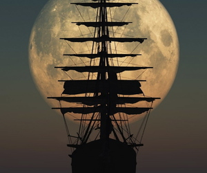 moon, ship, and boat image