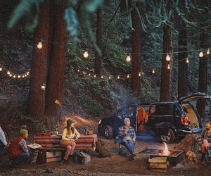 camping, friends, and light image