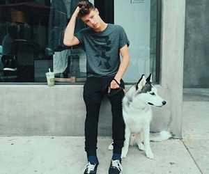 cameron dallas, boy, and dog image
