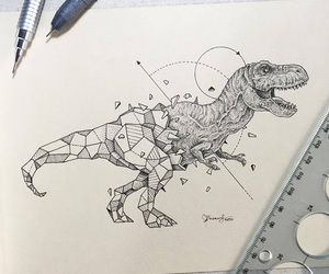 art, dinosaur, and drawing image