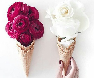 flowers, ice cream, and white image
