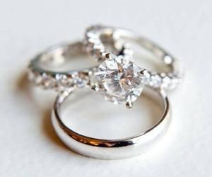 diamond, rings, and wedding image