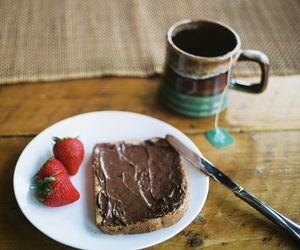 strawberry, food, and nutella image