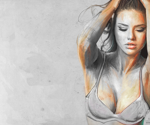art, black and white, and selena gomez image