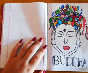 budha, drawing, and peace image