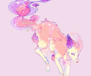 drawing, pink, and wolf image