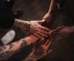 hands, Tattoos, and friends image