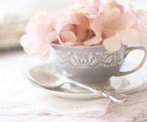 flowers, pink, and cup image