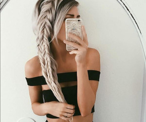 blonde, braids, and love image