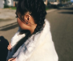 braids, faux fur, and hair inspiration image