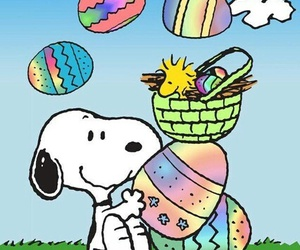 woodstock, 🐰, and happy easter snoopy image