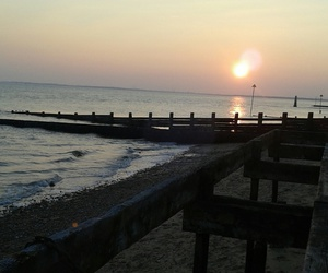 beach, southend-on-sea, and sunset image