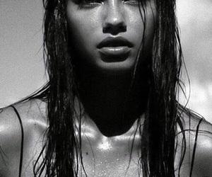 Adriana Lima, model, and black and white image