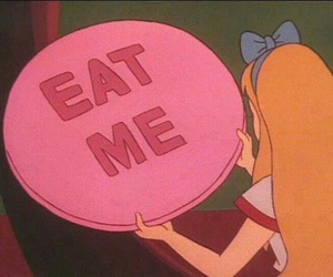 eat me, alice in wonderland, and alice image