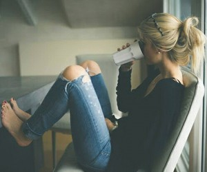 girl, coffee, and jeans image