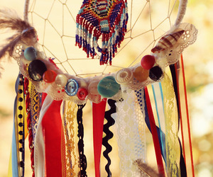dreamcatcher, beads, and chains image