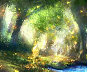 anime, forest, and trees image