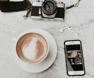 coffee, camera, and girl image
