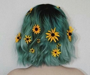 hair, flowers, and green image