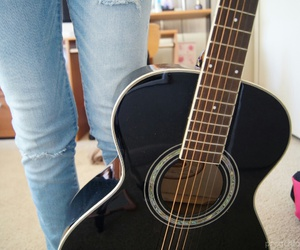 guitar, jeans, and girl image
