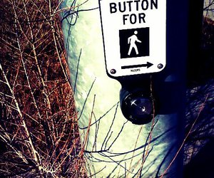 side walk, push button, and cross sign image