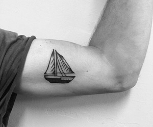 arm tattoo, black, and boat image
