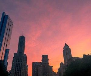 city, sunrise, and pink image
