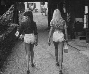 girl, black and white, and shorts image
